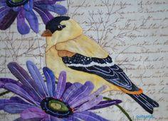 Ahh Sandra Leichner -- applique expert! close ups of her goldfinch block