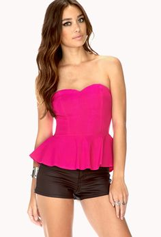 Neon Pop Peplum Top And Black Hotpants.