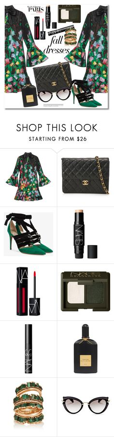 """Get the look Fall dress"" by vkmd ❤ liked on Polyvore featuring Gucci, Chanel, Valentino, NARS Cosmetics, H&M, Tom Ford, Nak Armstrong, Miu Miu and falldresses"