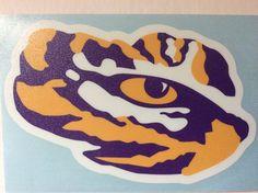 LSU Tigers TIGER EYE Logo Vinyl Decal Car Truck Sticker Decal Size: Weatherproof Vinyl Adhesive Backing Great, Bright Decals Show your team colors with Pride! Truck Stickers, Bumper Stickers, Tiger Stencil, Tiger Images, Cornhole Designs, Eye Logo, Pumpkin Stencil, Wood Burning Patterns, Lsu Tigers