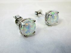 Fine Silver White Fire Opal Earrings White by TheWeddingJewelry