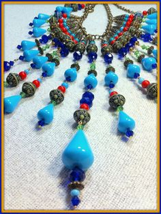 Turquoise Coral & Royal Blue Crystal Bib by BellaEmyJewels on Etsy