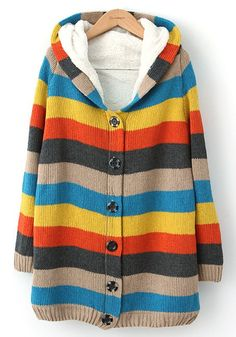 Multicolor Striped Buttons Long Sleeve Wool Blend Sweatershirt