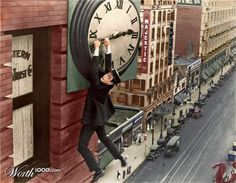 Harold Lloyd from the 1923 movie 'Safety Last!'.