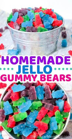 Learn how to make your delicious jello gummy bears! Gummy bears make a yummy sweet treat for kids and adults. These gummy bears are made from jello and taste amazing! Make this delicious gummy bear recipe with your kids today! Homemade Gummy Bears, Homemade Gummies, Homemade Candies, Recipe For Homemade Candy, Homeade Candy, Snacks Homemade, Homemade Things, Homemade Baby, Jello Gummy Bears