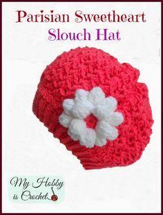 My Hobby Is Crochet: Parisian Sweetheart Slouch Hat - Free Crochet Pattern 2-5 yrs
