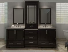 """View the Ariel M085D Stafford 85"""" Free Standing Vanity Set with Wood Cabinet, Stone Top, 2 Undermount Sinks and 2 Mirrors at FaucetDirect.com."""