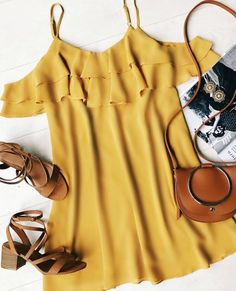 This is a gorgeous off the shoulder dress! Mustard yellow and leather accessories go together so well. It's like summer in an outfit.