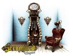 The Death Clock is one invention any Steampunk fan would love to have at home!  You can build this clock in Scrapyard Empire when you back our project here - http://www.scrapyardempire.com #steampunkinventions #steampunkart