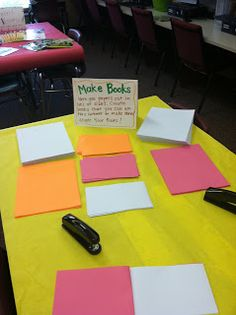 Stations for the last week of school:  making books, choosing just right books, helping yourself to extra materials, etc.