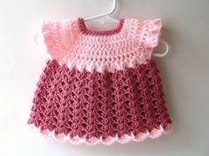 Crochet Baby Dress Medium Pink and Light Pink Crocheted by IDoYarn