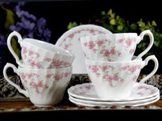 4 Teacups Tea Cup and Saucer Lot  Shabby by TheVintageTeacup