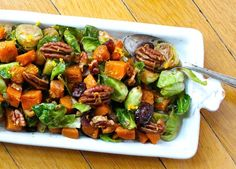 Orange Glazed Brussels Sprouts and Butternut Squash | gluten-free, colorful Thanksgiving side dish.