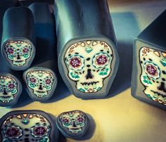 A personal favorite from my Etsy shop https://www.etsy.com/listing/482779385/sugar-skull-cane-polymer-clay-canes