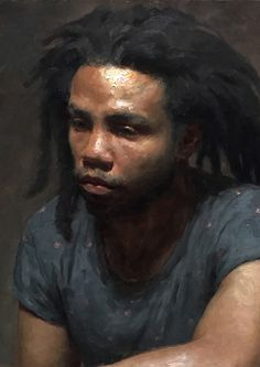 """Lemurian"" - Patrick Byrnes, oil on panel, 2015 {figurative #impressionist art male head #naturalhair african-american black man face portrait cropped texture painting #loveart} patrickbyrnespaintings.com"