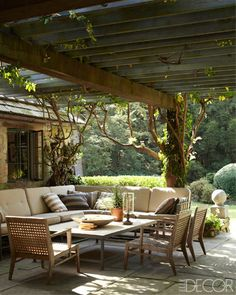 A terrace designed by Paul Fortune for a home in California
