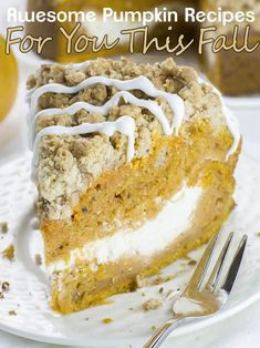 This is the fall recipe you've all been waiting for- Pumpkin Coffee Cake! A big slice of spiced pumpkin cake with cream cheese filling in the center and crunchy brown sugar-cinnamon crumbs on top driz Fall Dessert Recipes, Fall Desserts, Fall Recipes, Breakfast Recipes, Delicious Recipes, Holiday Recipes, Famous Desserts, Thanksgiving Desserts, Holiday Foods
