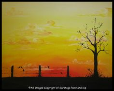 GOLDEN HAZE at Saratoga Paint and Sip Studio—Paint the sky, paint the silhouette, then PUT A BIRD ON IT.