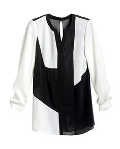 Black Label Geometric Colorblock Top. The sheer fabric and back ruffle enhance the feminine style.