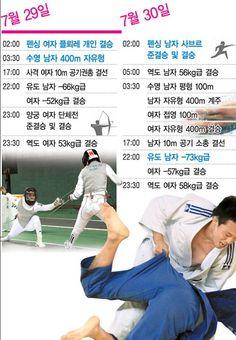 2012년 런던 올림픽 한국 선수단 주요 종목 일정