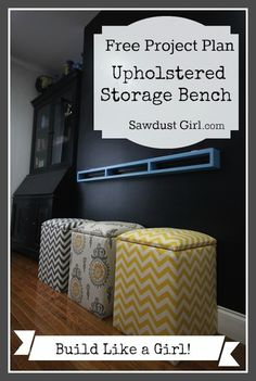 Upholstered Storage Bench - free and easy plans from https://sawdustgirl.com. #DIY #Furniture #Plans