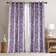 Purple Curtains for living room, bedroom, White Leaf patterned drapes, Cotton Polyester curtain fabric Leaf Curtains, Dark Curtains, Purple Curtains, Printed Curtains, Country Curtains, Colorful Curtains, Blackout Curtains, Panel Curtains, Curtain Fabric