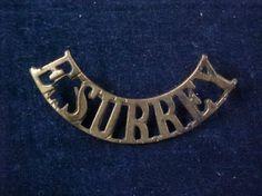 Orig-WW1-Curved-Brass-Shoulder-Title-East-Surrey-Regiment