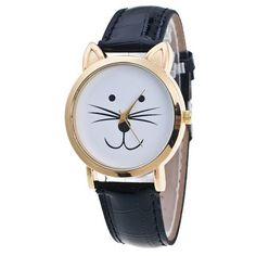 Cat Face Women's Wrist Watch with Leather Band