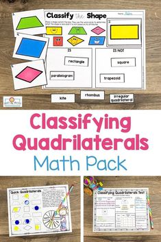 Classifying #Quadrilaterals Printables and Games - Your 2nd, 3rd, 4th, and 5th grade students get #Mathprintables, PowerPoints, student booklet pages, & graphic organizers to help recognize and distinguish between different shape attributes. These are hands-on, engaging activities to keep students motivated during math centers, review, test prep, introductory lessons, homework, & more. Grab these great shape lessons for your second, third, fourth, and fifth graders today! #Math