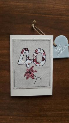 Happy Birthday fabric Greeting card with lilly applique free motion embroidery, textile art, FREE UK POSTAGE, by CurlyEmmaEmbroidery on Etsy Embroidery Cards, Free Motion Embroidery, Free Machine Embroidery, Hand Embroidery, 90th Birthday Cards, Happy 40th Birthday, 90 Birthday, Birthday Ideas, Applique Tutorial