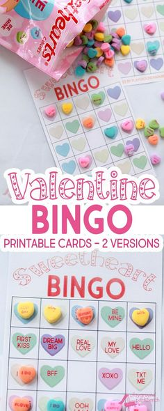 Our Valentine Bingo game printable features 2 different sets of 20 unique game cards. Play the colored hearts version with at your preschool Valentine's Day party, or opt for the conversation heart phrase version for your early readers Party Games Val Valentine Bingo, Kinder Valentines, Valentines Day Food, Valentines Day Activities, Valentine Day Crafts, Valentines Party Ideas For Kids Games, Printable Valentine, Party Activities, Printable Cards