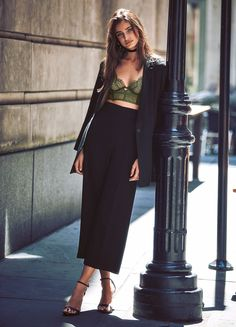 Angel Style Secret: play with proportions—a high-waist, wide-leg trouser…