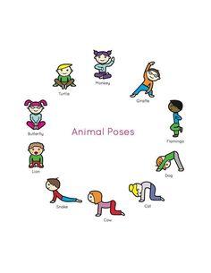 Kids Yoga Book : My First Yoga Animal Poses. More #myfunyogaposesforbeginners #kidsyoga