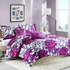 Home Essence Apartment Annette Bedding Comforter Set Floral Comforter, Purple Bedding, Twin Xl Bedding, Comforter Sets, Bedding Shop, Purple Comforter, Duvet, Twin Xl Sheets, Bed Sheets