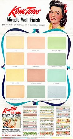 Kem-Tone wall paint color chart, ca. 1940s Cores Vintage, Retro Vintage, Vintage Colors, Vintage Decor, House Colors, 1940s Kitchen, Vintage Kitchen, Color Palettes, Colour Pallete