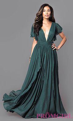 Long Chiffon Flutter-Sleeve Deep V-Neck Dress at PromGirl.com