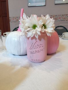 Baby shower center pieces- fall - painted pumpkins and distressed mason jar