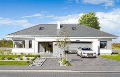 Front Yard Design, Facade, House Plans, Pergola, Villa, New Homes, Exterior, House Design, Flooring