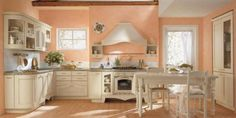 Hmm, should I paint my kitchen this color? or should I paint the cabinets peach and the walls white?