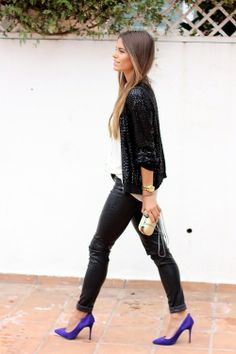 Leather pants, sequins blouse and purple heels