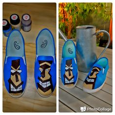 slip-on, canvas painted shoes