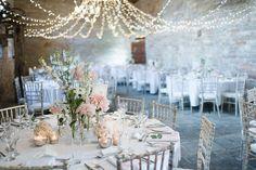 Fairy Light Canopy Filled Reception | Pronovias Wedding Dress | Pastel Pink Colour Scheme | Rustic Barn | Almonry Barn Wedding Venue | Images By Julie Michaelsen | http://www.rockmywedding.co.uk/kat-alex/