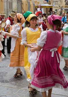 Maltese dancers in colourful costume