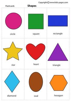 Kids Pages - Shapes- lots of other flash cards on this site. Use for a matching . - Kids Pages – Shapes- lots of other flash cards on this site. Use for a matching game Preschool Learning Activities, Preschool Worksheets, Preschool Activities, Kids Learning, Preschool Shapes, Shapes For Kindergarten, Free Printables For Preschool, Body Preschool, Shape Activities