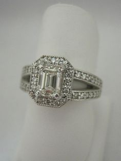 Emerald Cut Diamond Halo with a Split Shank...Gorgeous!