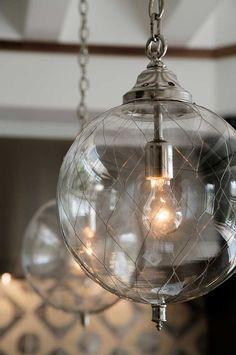 Jute Interior Designs Design Ideas, Pictures, Remodel, and Decor: Gorgeous Lights! Interior Lighting, Home Lighting, Lighting Design, Pendant Lighting, Wire Pendant, Globe Pendant, Light Fittings, Light Fixtures, Lamp Light