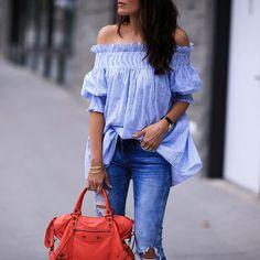 Warm nights in bare shoulders all summah! Wearing @chicwish top with a pop of 🍊! http://liketk.it/2oEDY @liketoknow.it #liketkit #summernights #friyay #seersucker PC: @fashionedchicstyling