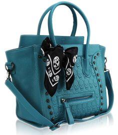 Teal handbag, skull scarf. Omg! I.WANT this bag!!!