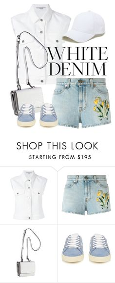 """""""white denim"""" by junethesev7n ❤ liked on Polyvore featuring STELLA McCARTNEY, Gucci, Kendall + Kylie, Yves Saint Laurent and Sole Society"""