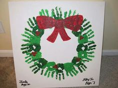 Parent gift - handprint wreath - add child's name, year and picture